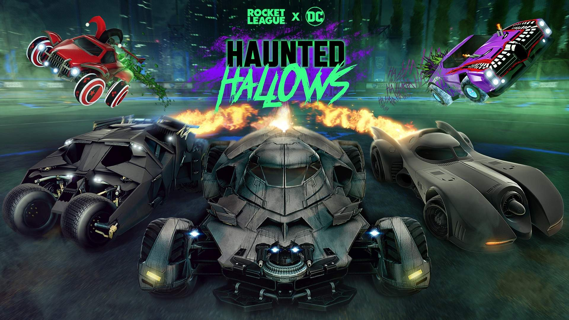 Video For Batman Super-Villains Take Over Haunted Hallows in Rocket League